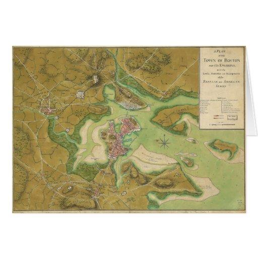 Mapa revolucionario de la guerra del puerto 1776 d felicitaciones