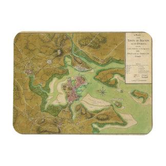 Mapa revolucionario de la guerra del puerto 1776 imanes rectangulares