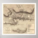 Mapa revolucionario de Newport de la guerra - 1777 Póster