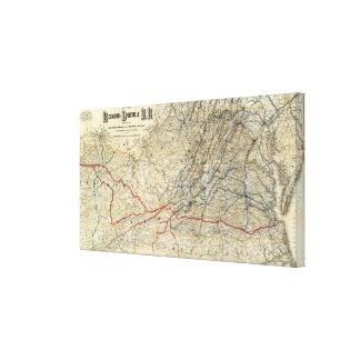 Mapa Richmond y Louisville RR Impresión En Lona Estirada
