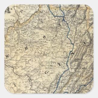 Mapa Richmond y Louisville RR Calcomania Cuadrada Personalizada