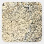 Mapa Richmond y Louisville RR Pegatina Cuadrada