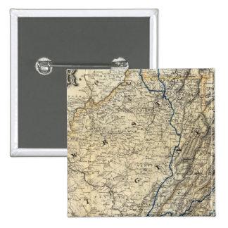 Mapa Richmond y Louisville RR Pin Cuadrada 5 Cm