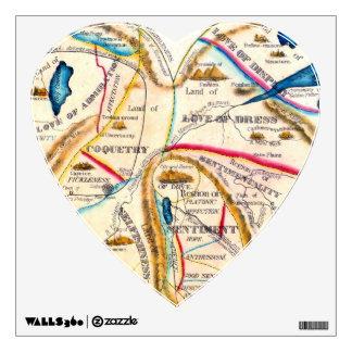 Mapa romántico del corazón del vintage de las emoc