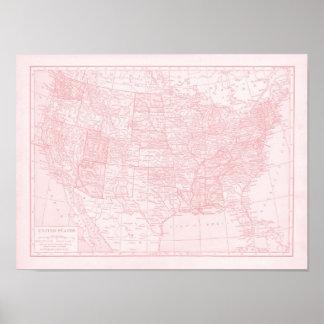 Mapa rosado femenino de los Estados Unidos de Amér Poster