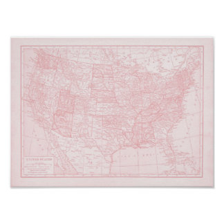 Mapa rosado femenino de los Estados Unidos de Amér Póster