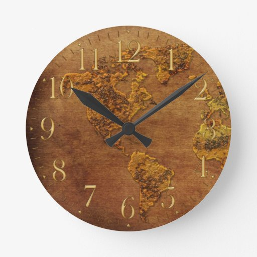 Mapa rústico del reloj continente americano