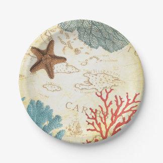 Mapa rústico y coral de las estrellas de mar del plato de papel de 7 pulgadas