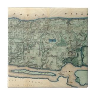 Mapa sanitario y topográfico de New York City Azulejo Cuadrado Pequeño