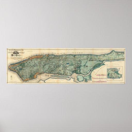Mapa sanitario y topográfico de New York City Póster