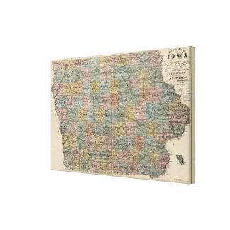 Mapa seccional de Iowa Impresión En Lienzo Estirada