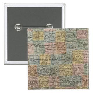 Mapa seccional de Iowa Pin Cuadrado