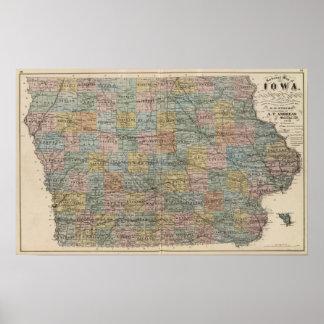 Mapa seccional de Iowa Póster