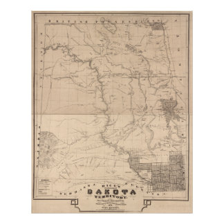 Mapa seccional del territorio de Dakota Póster