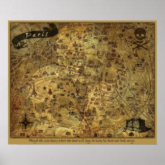 Mapa secreto del tesoro de París Poster