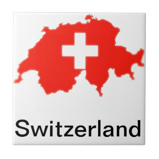 Mapa suizo de la bandera azulejo cuadrado pequeño