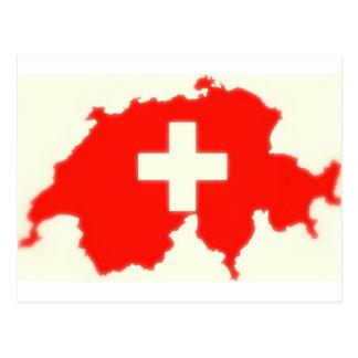 Mapa suizo de la bandera tarjeta postal