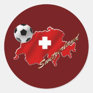 Mapa suizo de los regalos del fútbol del fútbol de pegatina redonda