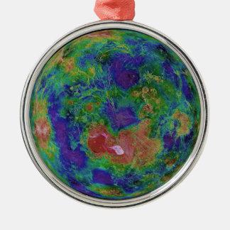 Mapa superficial de la elevación del planeta Venus Ornamento De Navidad