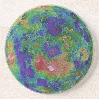 Mapa superficial de la elevación del planeta Venus Posavasos Manualidades