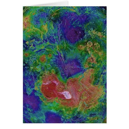Mapa superficial de la elevación del planeta Venus Tarjeta De Felicitación