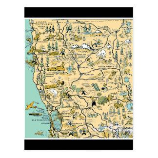 Mapa superior de California septentrional del vint Tarjeta Postal