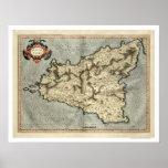 Mapa temprano 1595 de Mercator Sicilia Poster