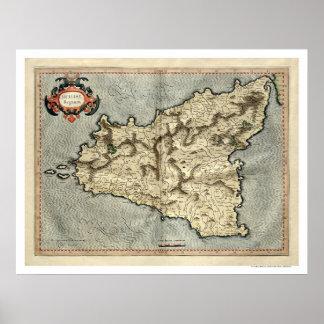 Mapa temprano 1595 de Mercator Sicilia Póster