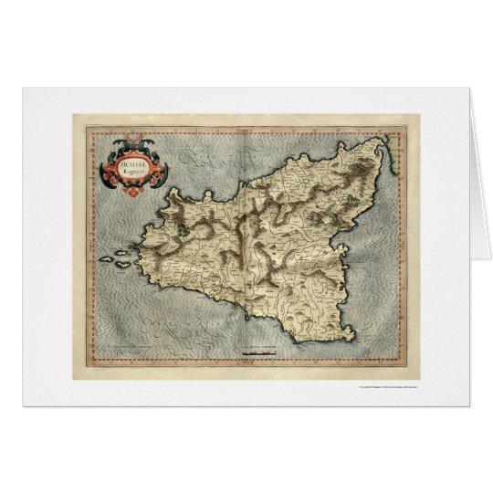 Mapa temprano 1595 de Mercator Sicilia Tarjeta De Felicitación