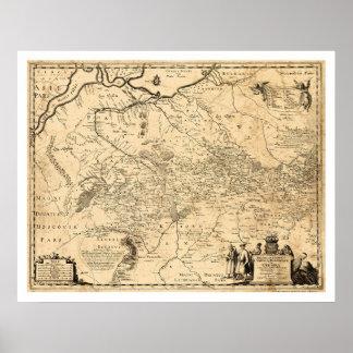 Mapa temprano 1648 de Ucrania Poster