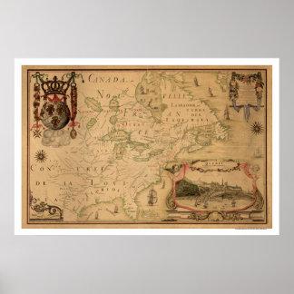 Mapa temprano 1688 de Quebec Canadá Póster