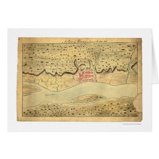Mapa temprano 1758 de Albany Nueva York Tarjeta De Felicitación