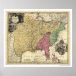 Mapa temprano 1763 de América Póster