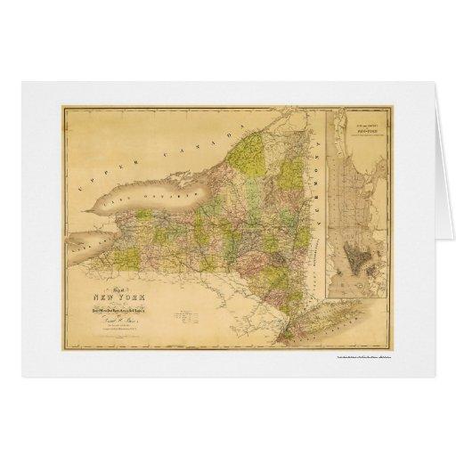 Mapa temprano 1839 del Estado de Nuevo York Tarjeta De Felicitación