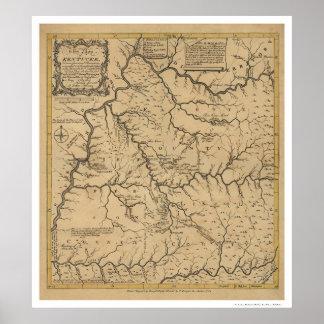 Mapa temprano de Kentucky - 1784 Póster