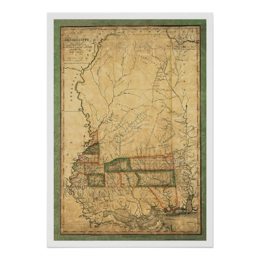 Mapa temprano de Mississippi por Melish 1820 Póster