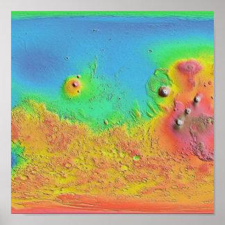 Mapa termal de la inercia del poster de Marte
