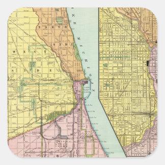 Mapa terminal ferroviario de Chicago Pegatina Cuadrada