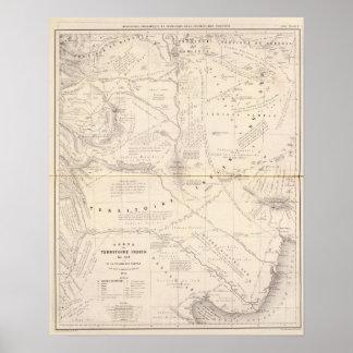 Mapa, territorio indio al sur de la región de Pamp Póster