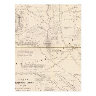Mapa, territorio indio al sur de la región de tarjetas postales