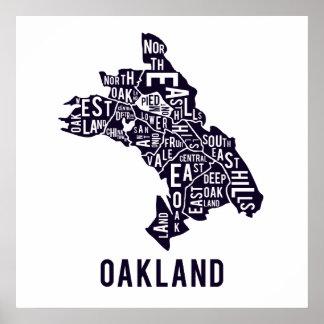 Mapa tipográfico de Oakland Póster