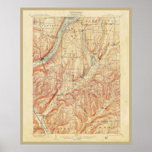 Mapa topográfico 1903 del Estado de Nuevo York Poster