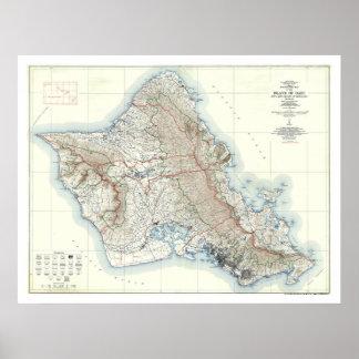 Mapa topográfico 1938 de Oahu Hawaii Póster