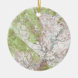 mapa topográfico de 1 x 2 grados adorno redondo de cerámica