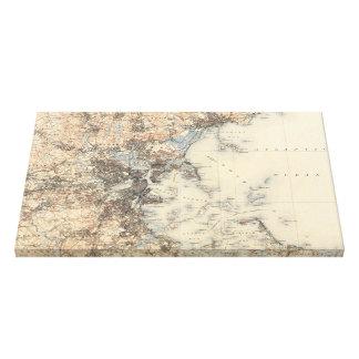 Mapa topográfico de Boston del vintage (1900) Impresión En Lona Estirada