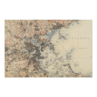 Mapa topográfico de Boston del vintage (1900) Póster