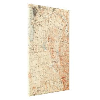 Mapa topográfico de Burlington Vermont del vintage Impresión En Lienzo
