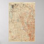 Mapa topográfico de Burlington Vermont del vintage Póster