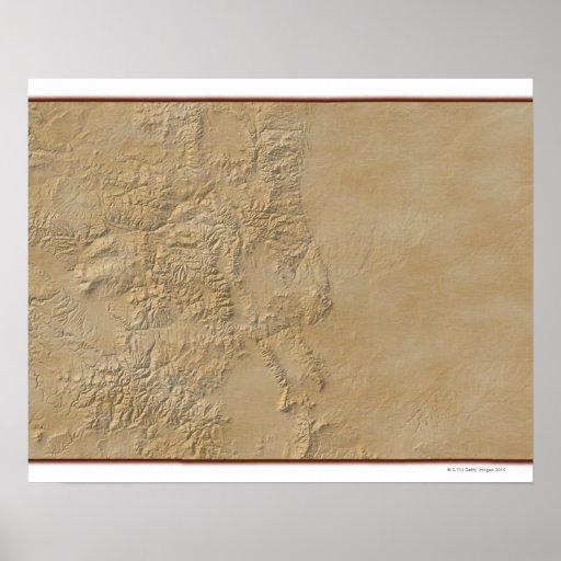 Mapa topográfico de Colorado 2 Posters