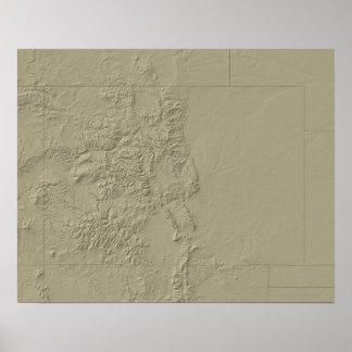 Mapa topográfico de Colorado Póster